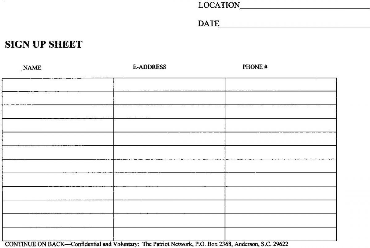 sign up sheet templates free – Sign Up Sheet Printable