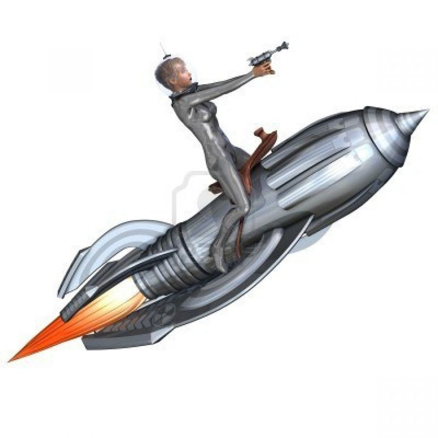 Rendering Of Silver Pin Up Girl Riding On Retro Rocket With Clipping Path And Shadow Over Whi
