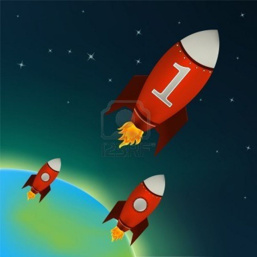 Illustration Of Retro Rocket Ships Flying Throw Outer Space
