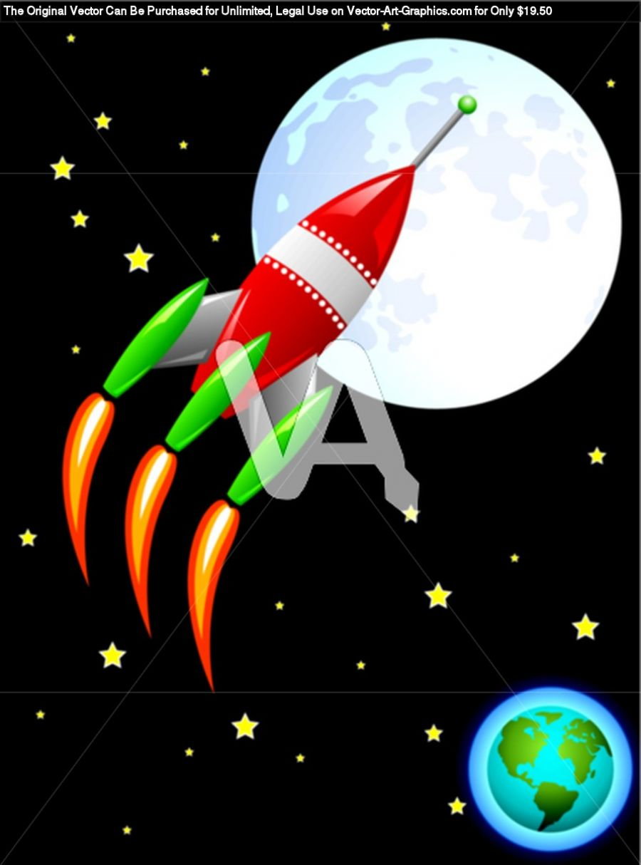 Vector Stylized Retro Rocket Ship In Space Flying From Earth To The Moon