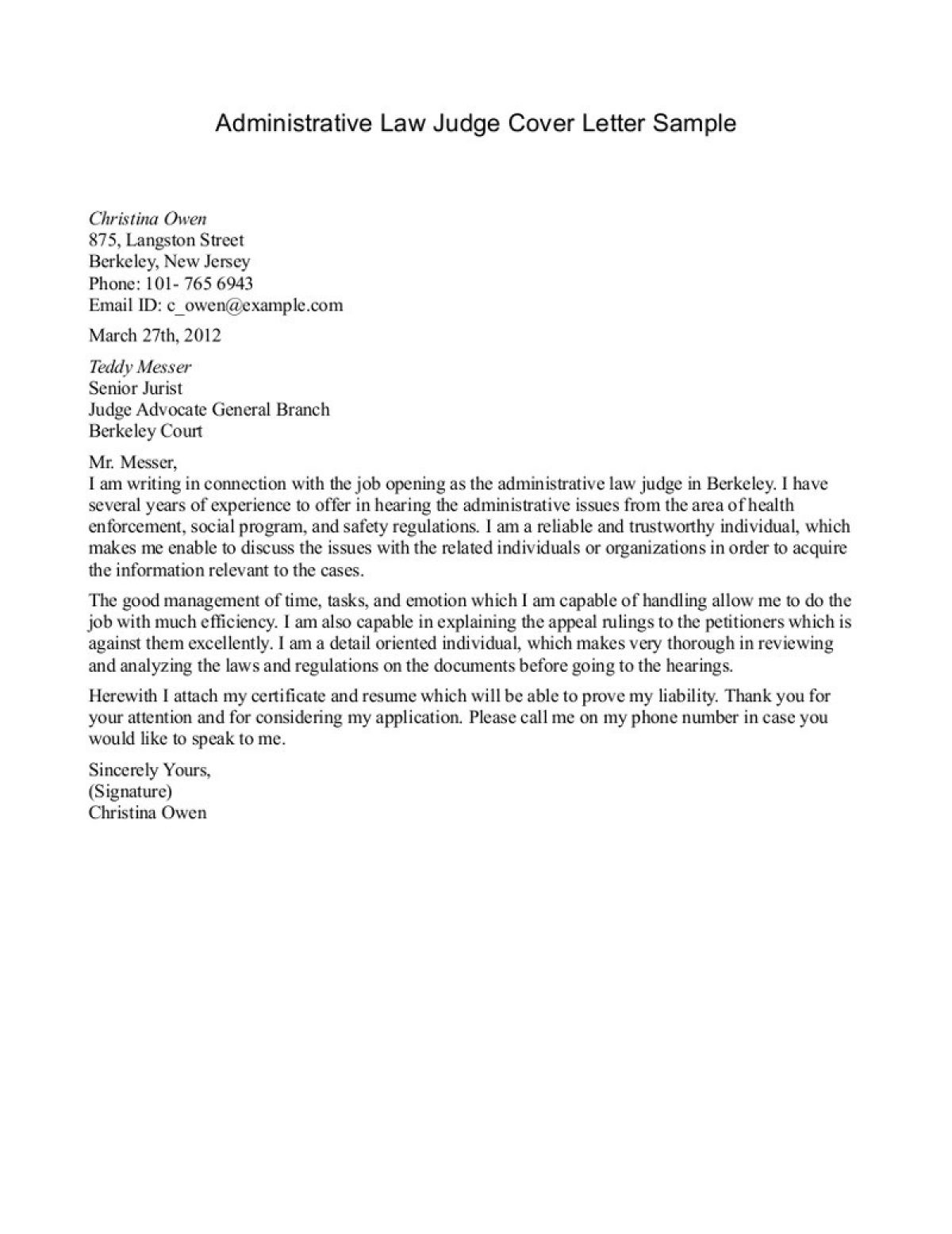 Administrative Law Judge Cover Letter Sample | Fans Share Images